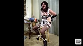 Sissy Maid Gina Ropeburn tied and gagged with nipple clamps and electrodes ...