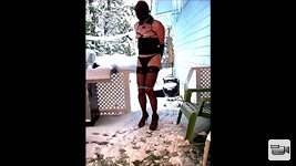 Blindfolded, gagged, nipples clamped and chained by the neck. On display fo...